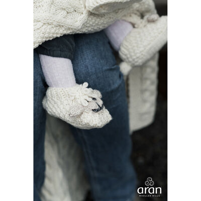 Irish Aran Baby Shepley Woollen Booties With Cute Sheep Design