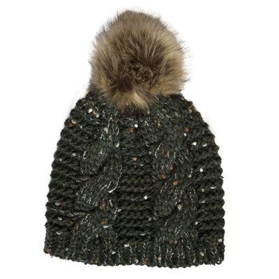 Patrick Francis Ireland Knitted Bottle Green Speckled Design Fur Bobble Hat