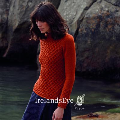 High Neck Trellis Sweater, Terracotta Colour