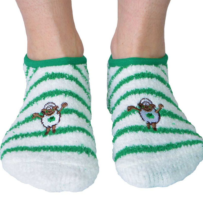 Seamus The Sheep Fleece Socks With Green Line Designs
