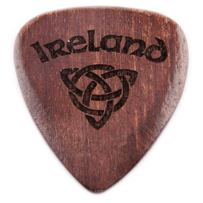 Dark Wooden Guitar Pick with Ireland and Celtic Knot Design
