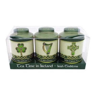 Irish Emblems 20g tea Caddies Set Of Tin Tea  Breakfast  afternoon and Green Tea