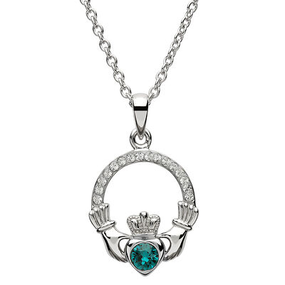 Platinum Plated Claddagh May Birthstone Pendant With Swarovski Crystals