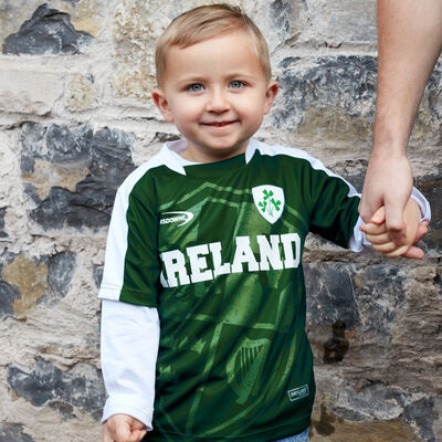 Ireland Lansdowne Kids Top With Shamrock Sprig Crest  Bottle Green Colour