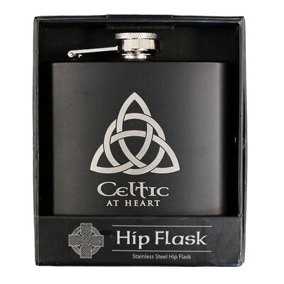 Green Celtic Trinity Knot Designed Stainless Steel 6Oz Hip Flask