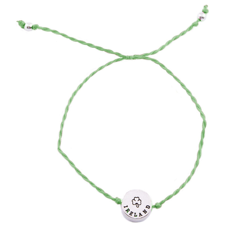 Green Cord Bracelet With Ireland Shamrock Charm