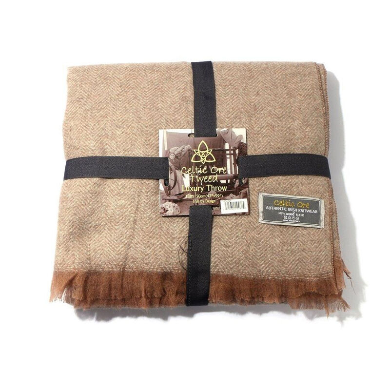 Celtic Ore Authentic Tweed Luxury Wool Blend Throw  Light Brown Colour