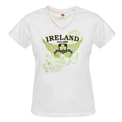 Ladies Fitted V-Neck T-Shirt With Ireland Wings Print  White Colour