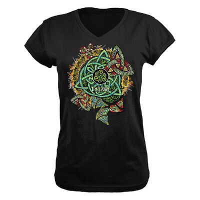 Black Ladies V-Neck T-Shirt With Ireland Celtic Knot Designs