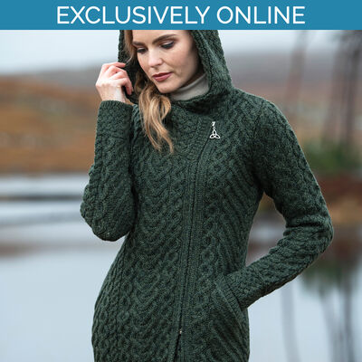 West End Knitwear Green Colour Claddagh Heart Design Side Zip Coat