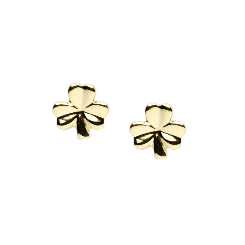 10Ct Gold Solid Classic Shamrock Earrings
