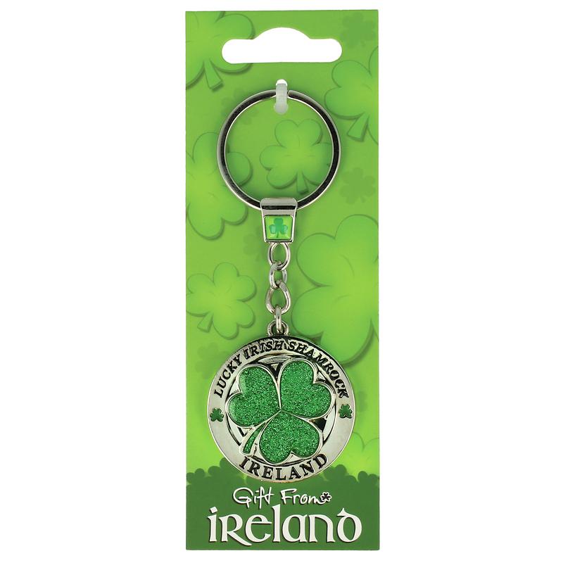 Lucky Irish Green Sparkly Shamrock Designed Ireland Spinner Keychain