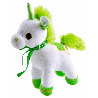 20Cm White Irish Unicorn With Ireland Ribbon And Green Mane And Tail