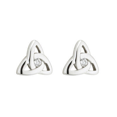 Hallmarked Sterling Silver Trinity Knot Stud Earrings with White Crystal Centre