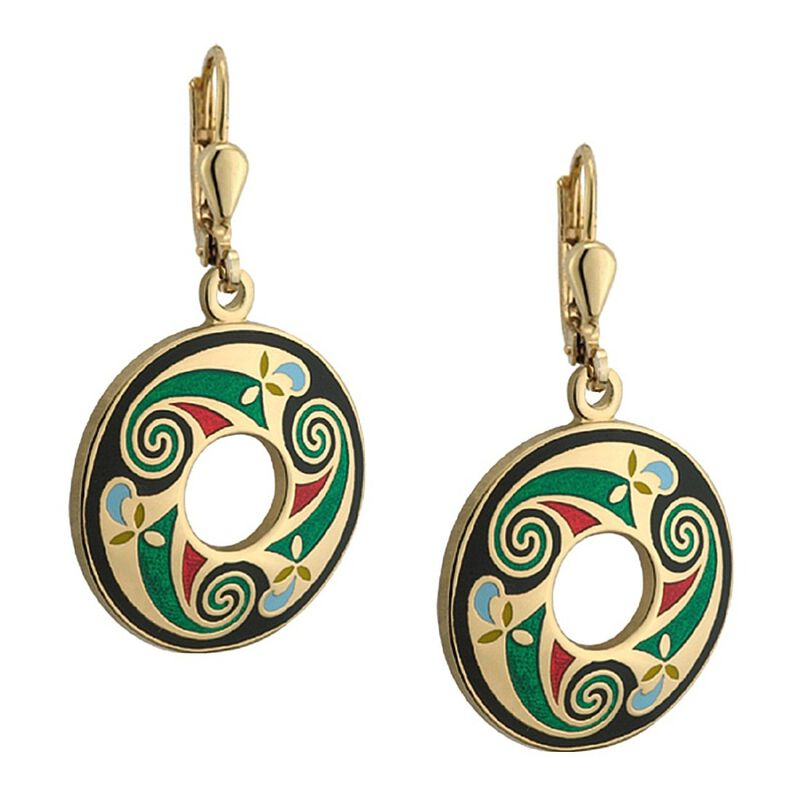Gold Plated Round Earrings – Black  Green  Red  Gold Celtic Swirl