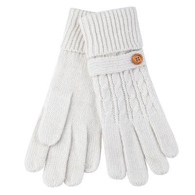 Aran Fine Knitted Irish Gloves With Wooden Button  Cream Colour