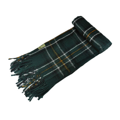 "Celtic Irish Gents Acrylic Scarf With Green  White and Yellow Tartan Design 8"" X 62"""