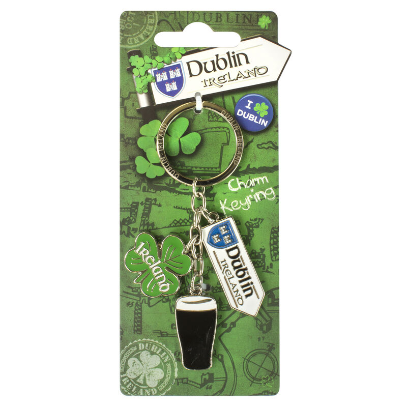 Destination Dublin Crest On A Road Sign Charm With Pint and Shamrock