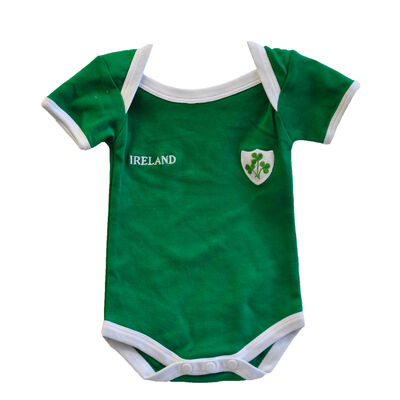 Green Ireland Rugby Vest Designed With A Small Ireland Print And Shamrock Badge
