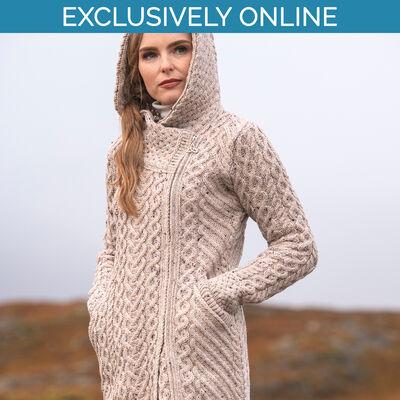 West End Knitwear Oatmeal Colour Claddagh Heart Design Side Zip Coat