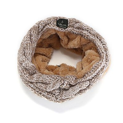 Celtic Ore Woollens Two Tone Fur-Lined Irish Aran Snood  Beige Colour