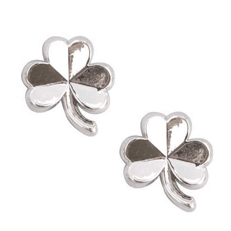 Silver Plated Polished Shamrock Earrings