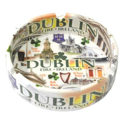 Famous Landmarks Of Dublin Ceramic Ashtray With Shamrocks And Green Text