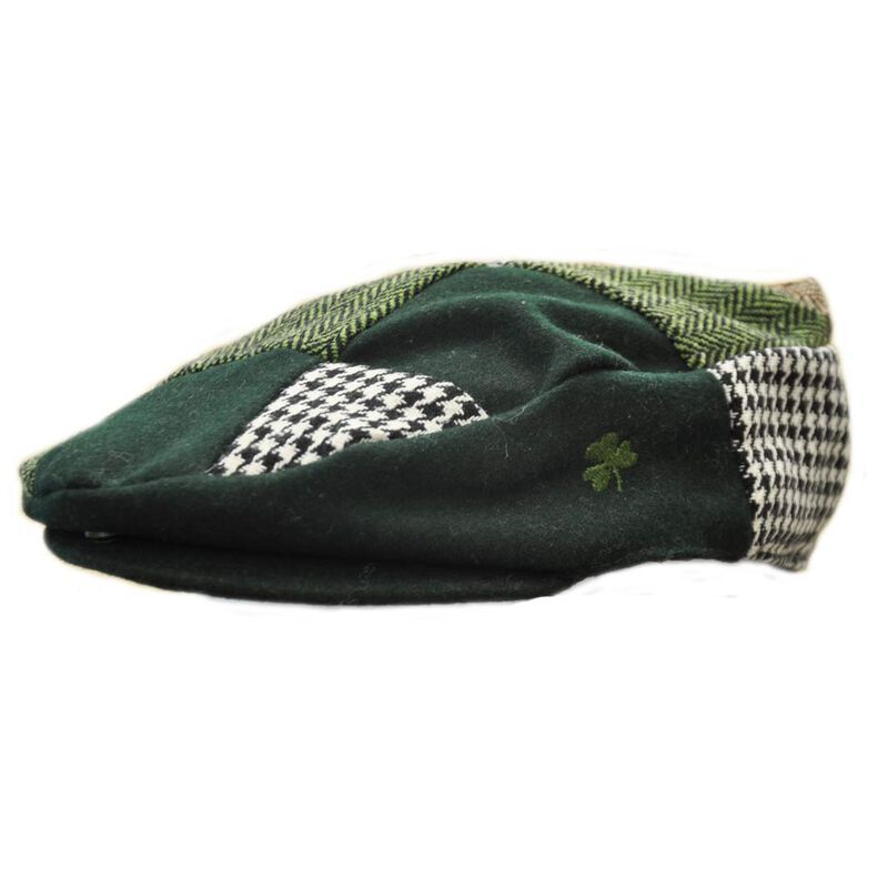 Green andamp; Brown Patch Cap With Green Shamrock On The Side