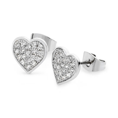 Tipperary Crystal Silver Plated Pavé Heart Designed Stud Earrings