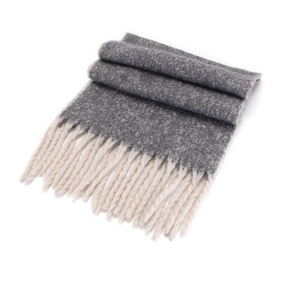 Irish Designed Woollen Wrap Scarf 48 X 180cm  Light Grey Colour