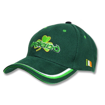 Baseball Cap With Embossed Ireland Print And Shamrock  Green Colour