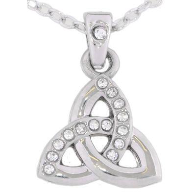 Croí-Dreiheits-Halskette mit Swarovski-Kristallen und silbernem Knotendesign