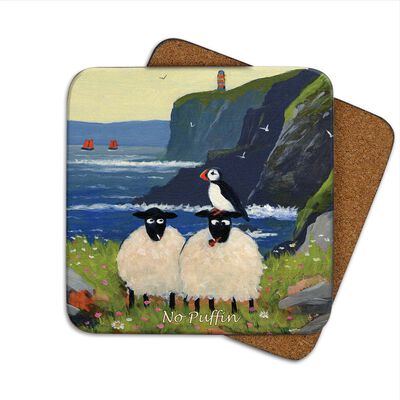 Irish Coaster With 2 Sheep At The Coastline With A Bird on Their Head With The Text 'No Puffin'
