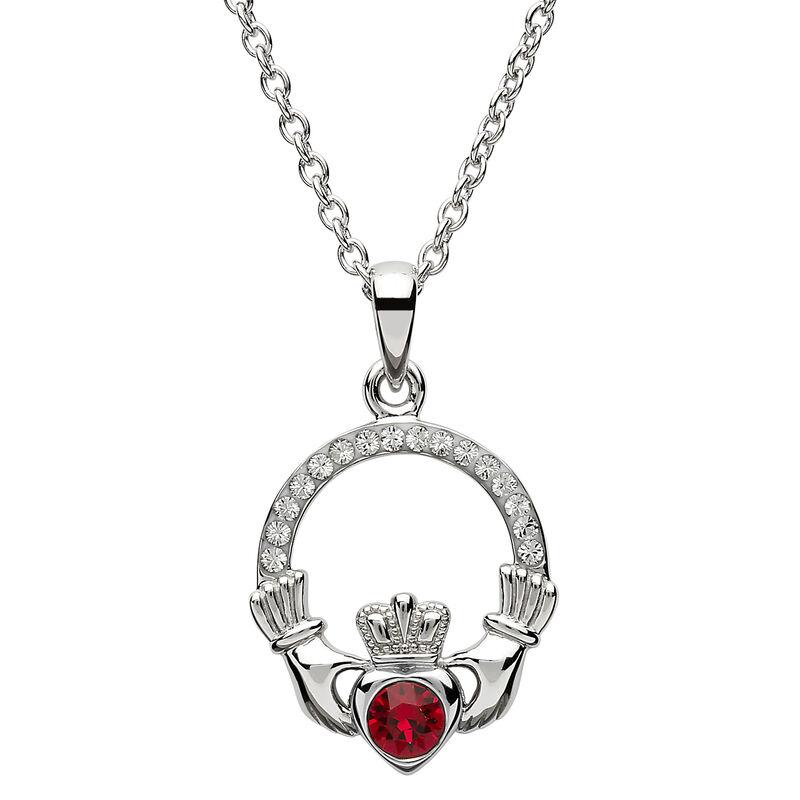 Platinum Plated Claddagh July Birthstone Pendant With Swarovski Crystals