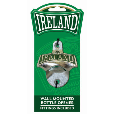 Ireland College Wall Mounted Bottle Opener With Green Shamrock Design