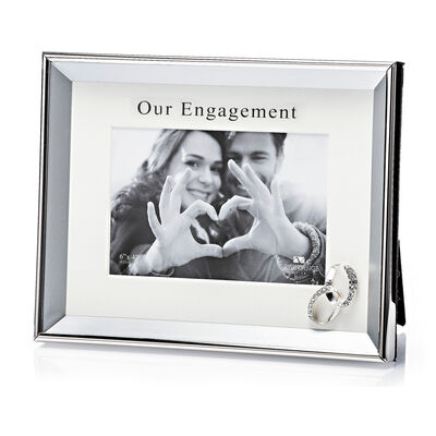 """Newgrange Living Our Engagement Silver Plated Photo Frame (Rings) 6"""" x 4"""""""