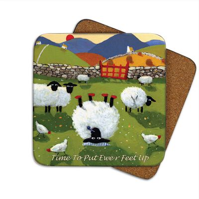 Irish Coaster With Sheep Lying Upside Down ' Time To Put Ewer Feet Up'