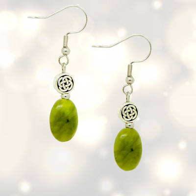Oval Conemara Marble Stone Celtic Knot Designed Drop Earrings