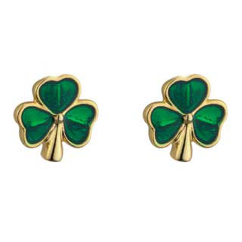 Gold Plated Shamrock  Stud Earrings With Green Leaves