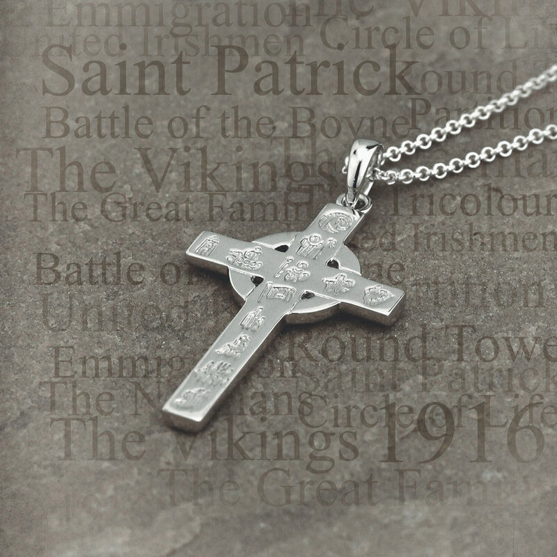 Hallmarked Sterling Silver History of Ireland Small Cross Pendant