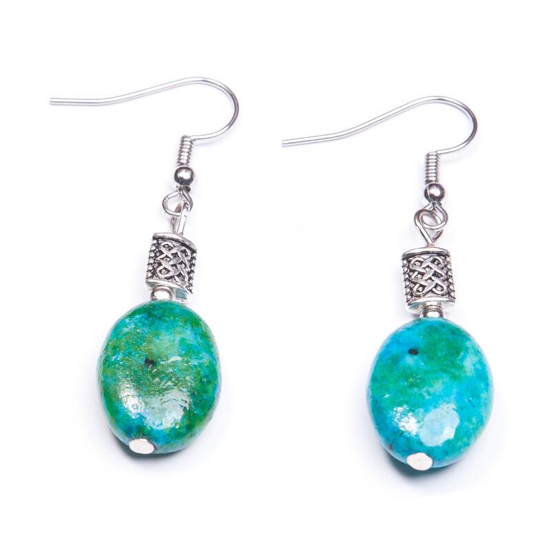Green Oval Shaped Chrysocolla Stone Earrings  Handmade in Ireland