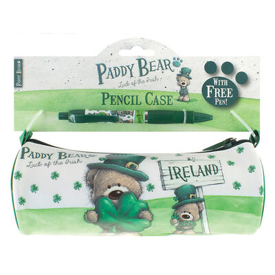 Paddy Bear Luck Of The Irish Designed Pencil Case  Comes With Free Pen