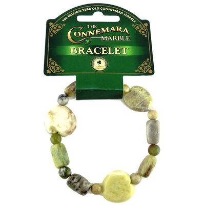 Connemara Marble Celtic Bracelet With Round And Heart-Shaped Nuggets