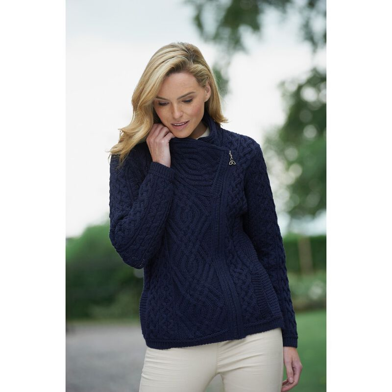 100% Merino Wool Cable Knit Cardigan With Side Zip  Navy Colour
