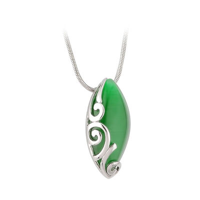 Rhodium Plated Green Oval Celtic Pendant