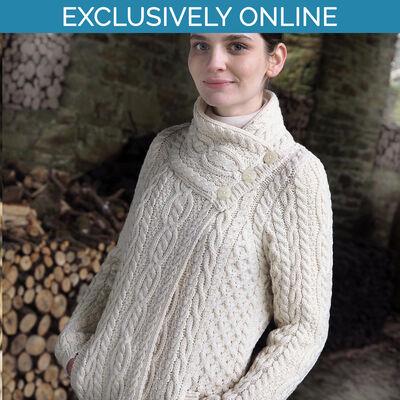 West End Knitwear Natural Colour Corrib Three-Button Jacket 100% Merino Wool