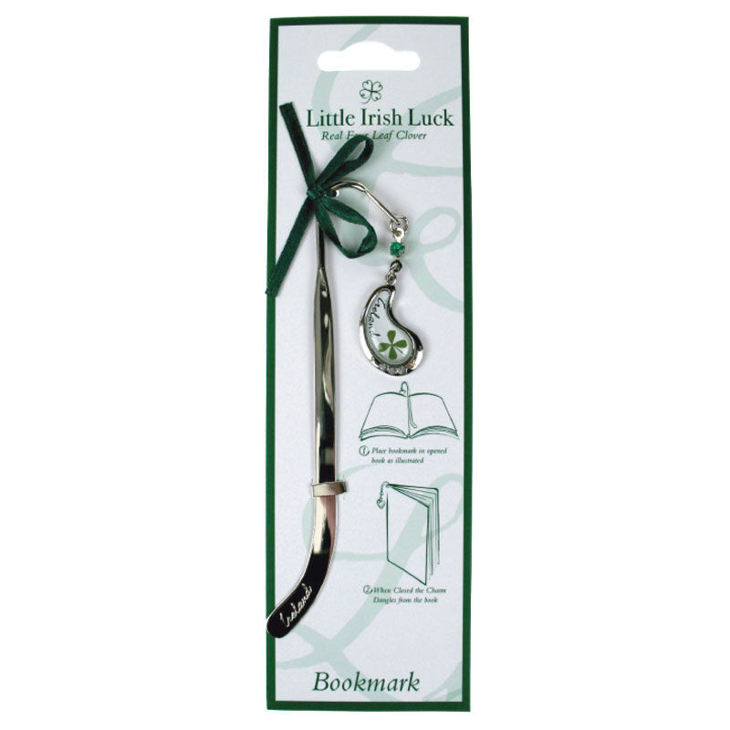 Four Leaf Clover Bookmark With Curved Droplet Charm