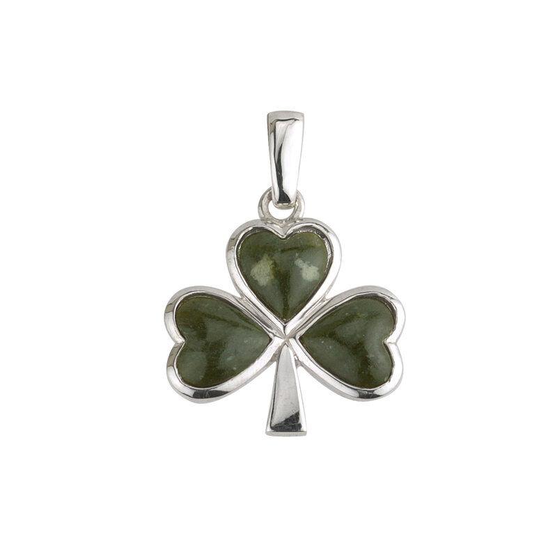 Hallmarked Sterling Silver Large Shamrock Connemara Marble Pendant