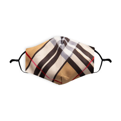 Re-usable Face Covering Camel Thomson Tartan Design With Adjustable Ear Loops & Filter