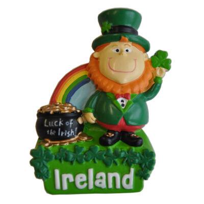 Harz Magnet mit Irland Leprechaun mit Regenbogen und Topf mit Gold